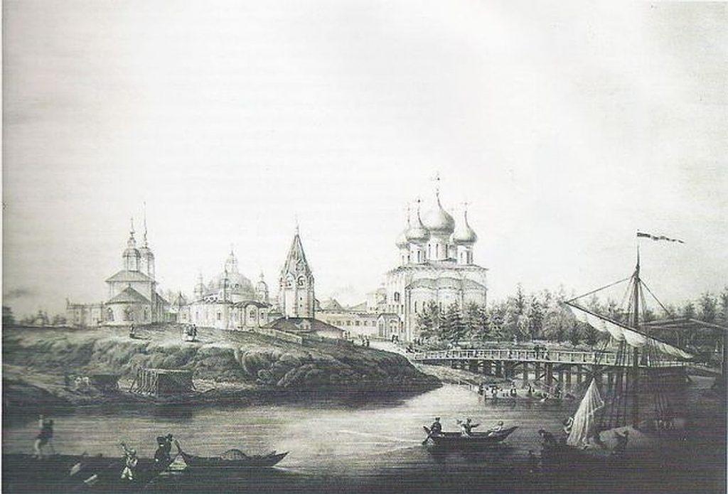 Вологда на старинной гравюре. На переднем плане Софийский собор