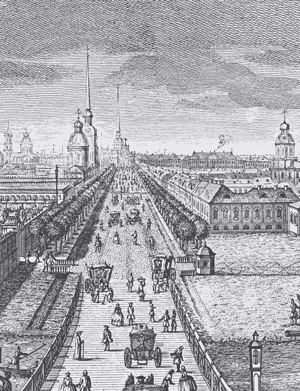 Невский проспект на гравюре XVIII века