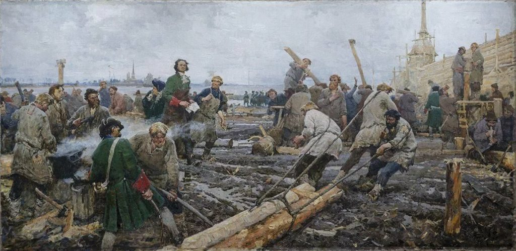 Г.Песис.  Петр I на строительстве Санкт-Петербурга. 1953.