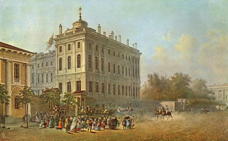 В.Садовников.Вид Невского проспекта.1840-е. Акварель