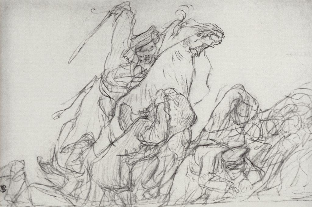 В.Серов. Разгон казаками демонстрантов в 1905. Бумага, карандаш.Эскиз