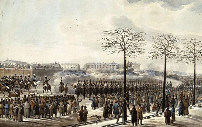 К.И. Кольман. Восстание на Сенатской площади 14 декабря 1825 года. 1830. Бумага, акварель