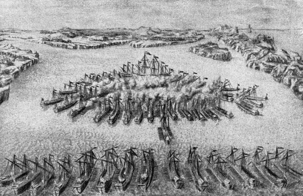 Гангутское сражение на старинной гравюре