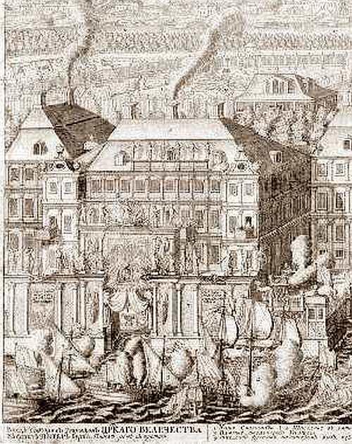 Фрагмент гравюры А.Зубова с изображением Триумфальной арки у Меншиковского дворца