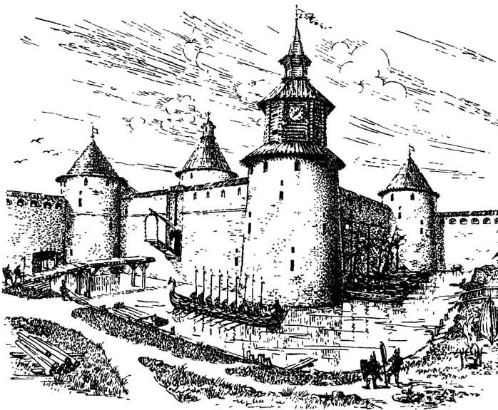 Крепость Орешек. Рисунок-реконструкция В.М.Савкова