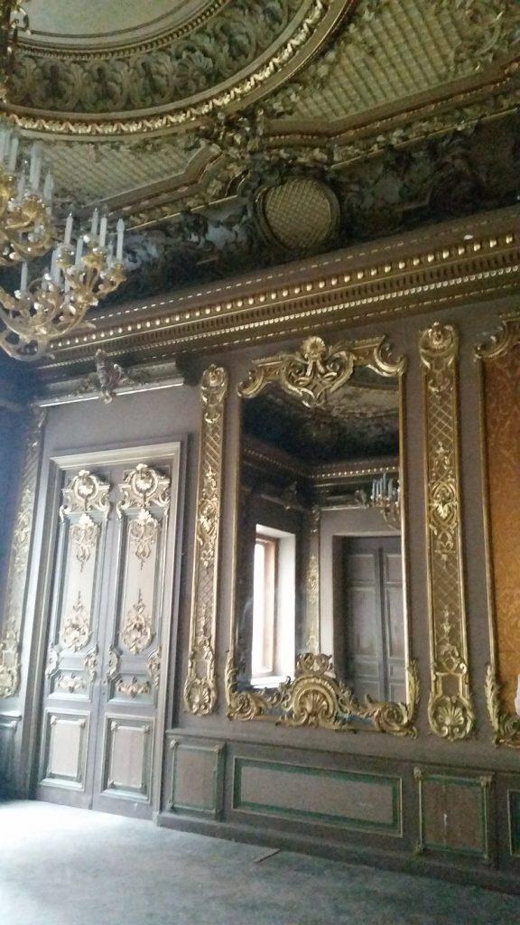 лепной орнамент  на дверях, потолке  и в обрамлении зеркал