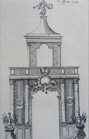 Вторые Адмиралтейские триумфальные ворота. Гравюра А.Рудакова 1779г. по рисунку А.Богданова 1742г.