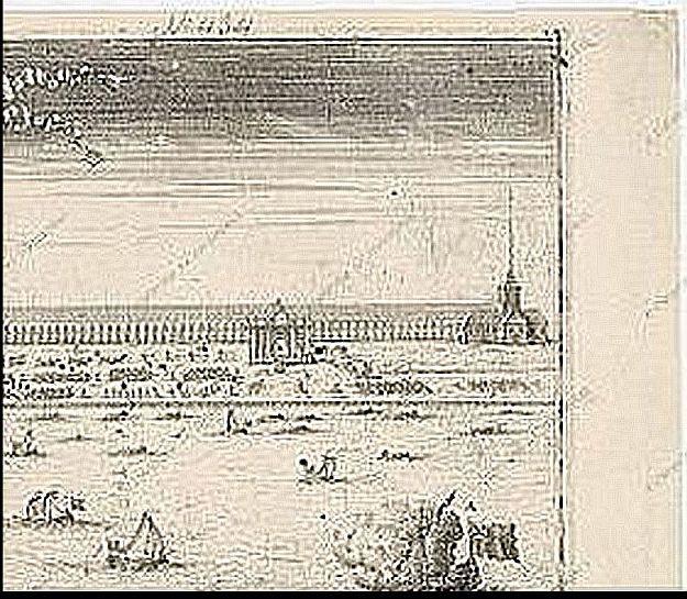 """Фрагмент гравюры """"Гангутский триумф"""" Г. Девита. 1714г"""