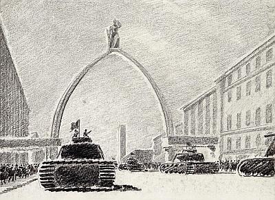 А.Никольский. Проект арки Победы. Литография 1942г.