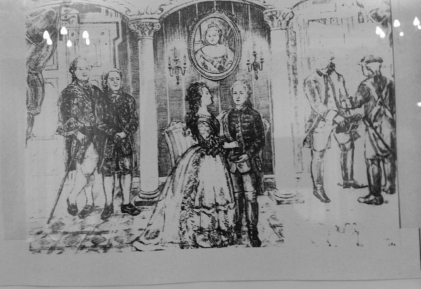 Награждение Е.Р. Дашковой орденом Св.Екатерины, гравюра из собрания музея