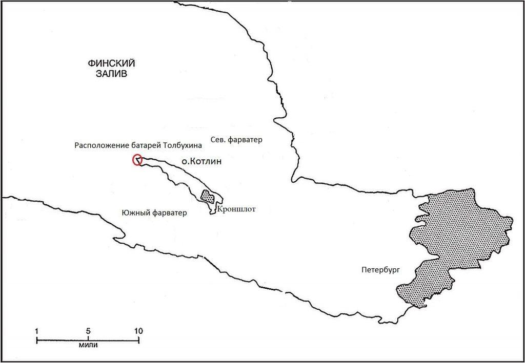 Схема расположения береговых укреплений о.Котлин. Не указаны батареи Ивановская, Лесная, Старая
