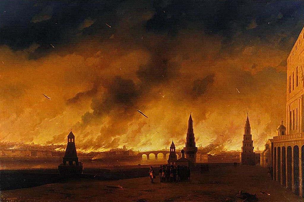 """И. Айвазовский. """"Пожар Москвы в 1812 году"""". 1851."""