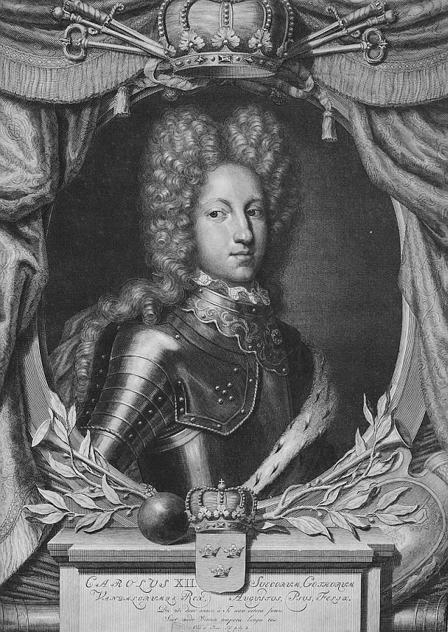 Карл XII, король Швеции, гравюра ок.1698г.
