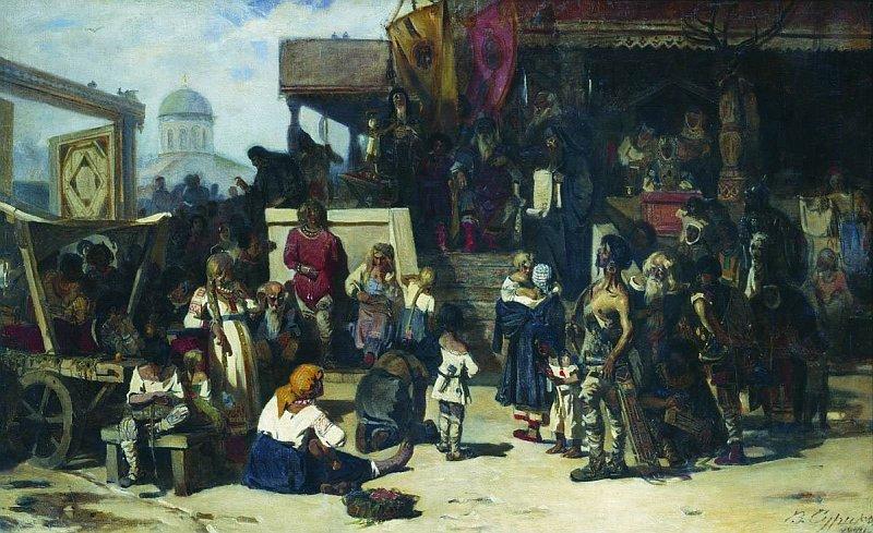 В.И.Суриков. Княжий суд. 1874. Холст, масло.Третьяковская галерея
