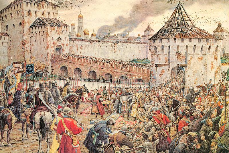 """Эрнст Лисснер. """"Изгнание поляков из Кремля в 1612 году"""". 1907."""