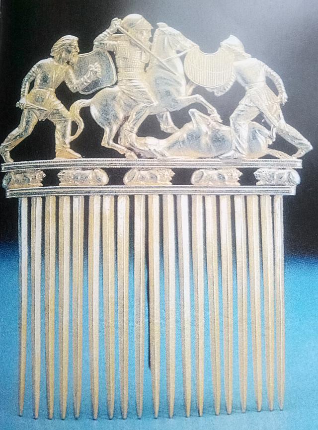 Золотой гребень из царского скифского кургана Солоха